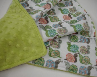 Buggy Eyed Snails Double Sided Minky Baby Blanket You Choose Size MADE TO ORDER