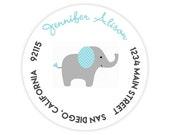 Blue Elephant Round / Circle Return Address Labels / Stickers - 1.75 inch circles / 20 per set