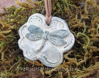 Ready to ship Dragonfly pottery pendant necklace jewelry dragonflies nature rustic kiln fired necklace woodland boho on sale insect bugs