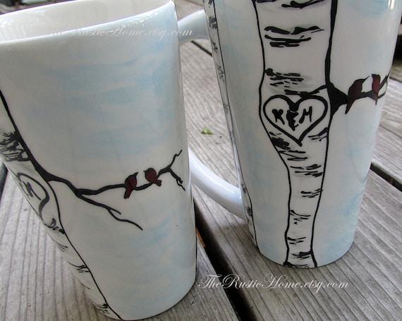 Birds and birch tree heart mug initials carved in heart wedding mug couples mug love anniversary gift engagement gift