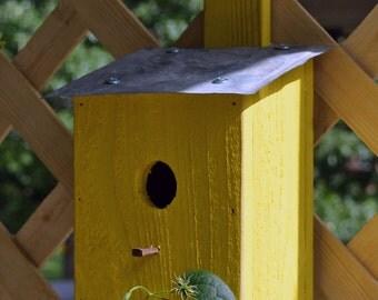 Rustic Hanging Birdhouse - Primitive Birdhouse - Recycled Birdhouse- Yellow Birdhouse
