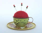 SHOP CLOSING SALE - Pin Cushion - Needle Felted - In Vintage Child's Tin Tea Cup With Saucer - Red, Brown, And Gold
