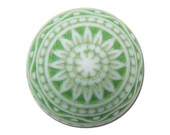 Vintage Etched Mosaic Green and White Cabochons 12mm cab827