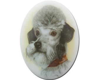 Vintage Glass Poodle Dog Cameo Cabochon 40x30mm (1) cab386C