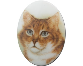 Vintage Glass Long Haired Orange Cat Cameo Cabochon 40x30mm (1) cab386G