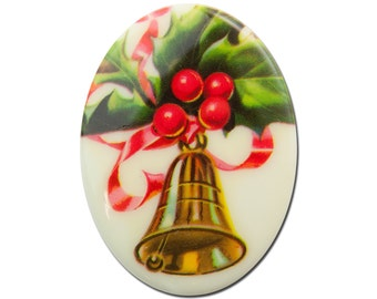 Vintage Christmas Bell Oval Cabochon 40mm X 30mm (1) cab001C