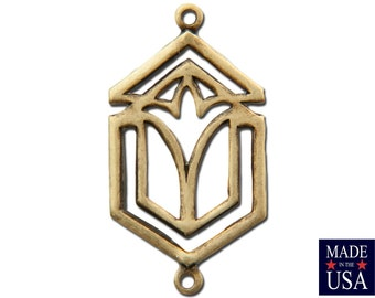 2 Loop Brass Ox Deco Connector Charm Pendant 23x13mm (6) mtl436B