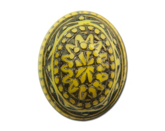 Vintage Mosaic Yellow and Black Cabochons 10x8mm (8) cab714T