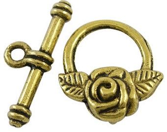 Rose w/ petals Antiqued Gold Toggles (6 Sets) tog017B