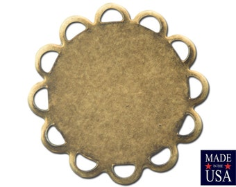 Brass Ox Lace Edge Round Flat Pad Settings 15mm (12) stn030V