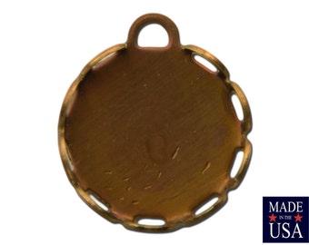 1 Loop Raw Brass Lace Edge Filigree Setting 11mm Round (12) stn002