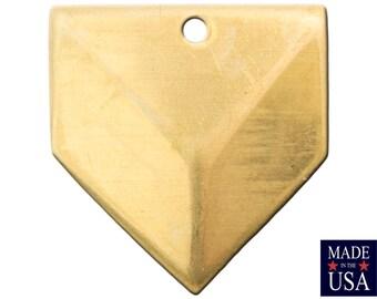 1 Hole Raw Brass Geometric Triangle Charms Drops 18x18mm (6) mtl076