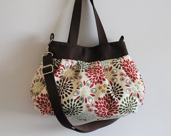 Cross Body Pleated Bag (SMALL or MEDIUM) w/ Adjustable Strap - Kennedy Floral