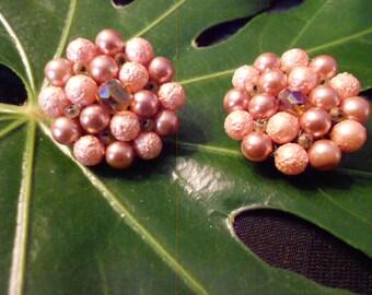 Peach Cluster Earrings