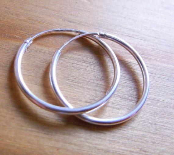 AUGUST SALE.  Sterling Silver 925 Hoop Earrings, 20mm, 1.25mm thickness.Boho Jewellery