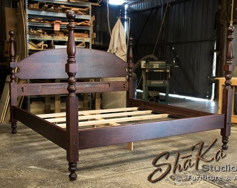 King New Haven Solid Cherry Tall Cannonball Poster Bed | Classic Cherry Stain | Colonial Furniture