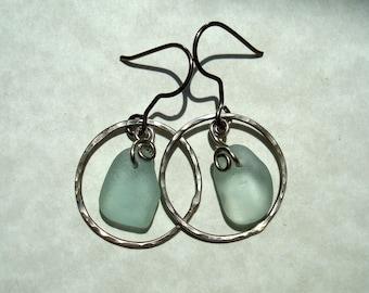 Sea Glass Earrings -Seafoam Seaglass Oxidized German Silver Circle -Beach Glass Hoop Jewelry