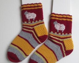 handknit socks, ankle socks, sheep socks , thick socks, slipper socks maroon, gold, gray and citrus stripes