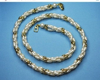 ON SALE NAPIER Vintage Gold Bead and Faux Pearl, Three-Strand, Twisted Torsade Necklace, Lovely! #A076