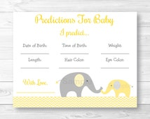 Yellow Elephant Chevron Baby Predictions Cards / Baby Shower Game / Elephant Baby Shower / INSTANT DOWNLOAD