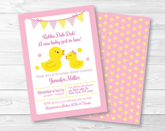 Cute Pink Rubber Duck Baby Shower Invitation / Rubber Duck Baby Shower Invite / Girl Rubber Duck / Baby Girl Shower / PRINTABLE A393