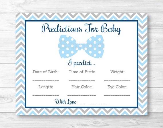 Bow Tie Baby Predictions Card Baby Shower Game / Chevron ...
