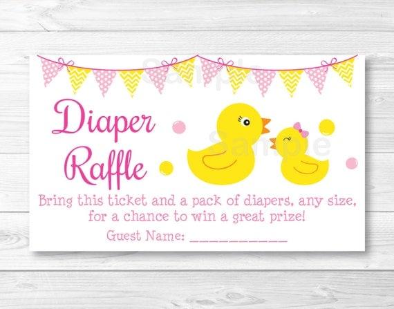 Pink Rubber Duck Diaper Raffle Tickets Rubber Duck Baby Shower