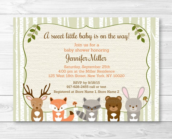 Woodland Forest Animal Baby Shower Invitation Forest Animals