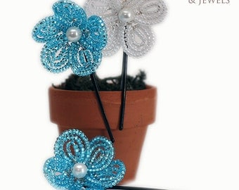 white and ocean blue French beaded flower hair bobby pins with pearl centers