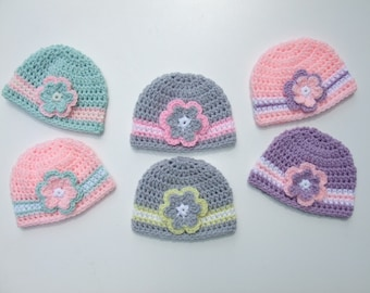 Crochet Baby Girl Hat, Crochet Baby Hats for Twins, Photography Prop, You pick size and color, Ready to Ship