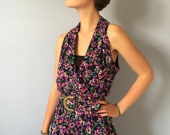 Vintage Dress Floral Sunshine Starshine Halter Belted Medium - Pockets - Purple Flowers  - Medium Large