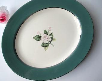 Serving Platter Homer Laughlin Pink Green Rose - Vintage Charm