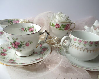 Teacups and Saucers Pretty Pink Floral Collection of Four - Vintage Tea Party Style