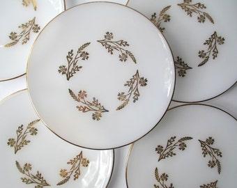 Vintage Federal Golden Meadow Gold Salad Plates Set of Five