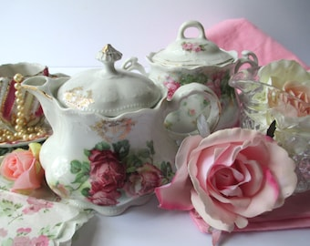 Vintage Pink Floral Tea Party Collection of Five