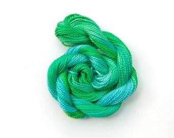 Hand dyed cotton perle 5 embroidery thread - emerald, bright green, jade, sky blue, mercerised cotton yarn, 20 metre (22 yard) skein