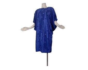 Vintage 80s Dress - 80s Blue Dress - 80s New Wave Dress - Cobalt Blue Dress - Blue Black Dress - 80s Coffin Dress - Dolman Sleeves - 1980s