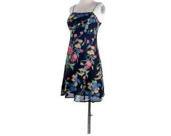 Vintage 90s Dress - 90s Rayon Dress - 90s Mini Dress - 90s Sundress - Floral Rayon Mini Dress - 90s Grunge Dress - Small - Summer Dress