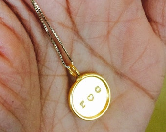 I love roc city 24k gold vermeil handstamped framed coun lire disc charm necklace