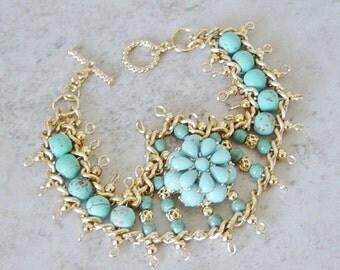 Turquoise Bead Ladder Bracelet, Turquoise Magnesite Bracelet, Gold Beaded Bracelet, Boho. Beach, Gold Bracelet, Beaded Ladder Bracelet