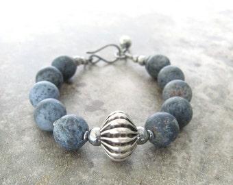 denim blue sodalite and silver bracelet, boho chunky blue stone bracelet, rustic bracelet, oxidized silver and gemstone bracelet