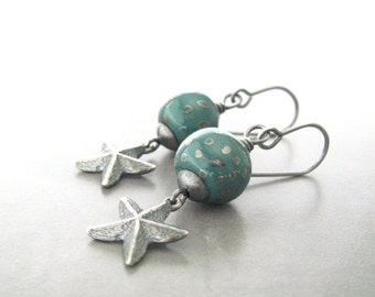 teal dangle earrings, ocean earrings, kazuri earrings, starfish earrings, oxidized sterling silver earrings
