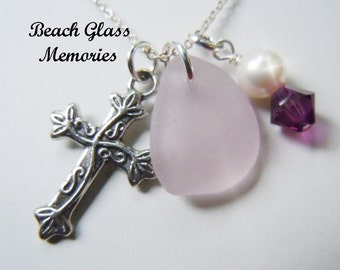 Sea Glass Cross Necklace Beach Glass Necklace Religious Necklace