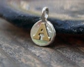 Initial Letter Charms Two tone Gold filled Sterling Silver