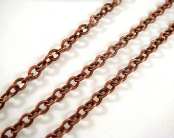 5ft Antique Copper Chain LF/NF Brass 3X2.5mm Soldered - 5 feet - STR9012CH-AC5