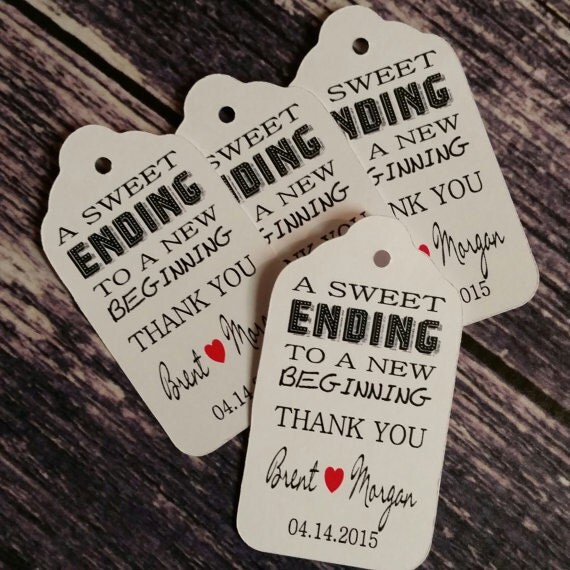 """A Sweet Ending to a new Beginning Choose your quantity SMALL 2"""" Favor Tag"""