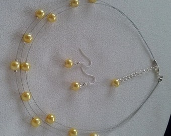 SALE Buttercup Yellow Floating Pearls Necklace and Complimentary Earrings