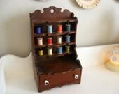 Antique Handmade Pine Cabinet Thread Holding Storage Sewing