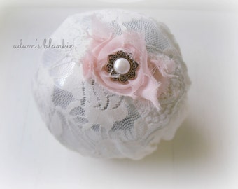 Mona - Pink and Cream Ruffled Lace Headband - Rosette Pearl - Newborn Infant Baby Girl Toddler Adult