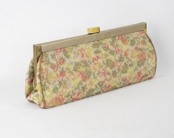 Vintage 1960s Floral Glitter Brocade Formal Clutch Purse